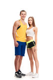 Sporty fitness couple portrait full length Royalty Free Stock Image