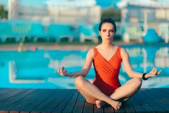 Summer Holiday Girl Doing Yoga by The Pool Royalty Free Stock Photo