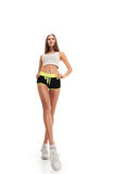 Sporty fitness woman. long legs Royalty Free Stock Photos
