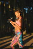 Sporty fitness woman on outdoor healthy workout Royalty Free Stock Image