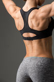 Sporty girl back with muscles Royalty Free Stock Photography