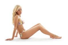 Sporty girl in bikini Stock Photos