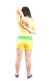Sporty girl in coloured gym clothes. Isolated Royalty Free Stock Photos