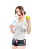 Sporty girl on a diet. Portrait of sporty girl on a diet Royalty Free Stock Photography