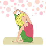 Sporty girl does fitness practice stretches. Royalty Free Stock Image