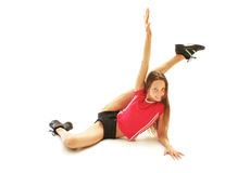 Sporty girl doing exercise Royalty Free Stock Photos