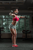 Sporty girl doing exercise with dumbbells Royalty Free Stock Photos