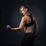 Sporty girl doing exercise with dumbbells. Sport picture with fitness woman on it doing exercise with dumbbells Stock Photo