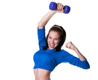 Sporty girl with dumbbell Stock Photography