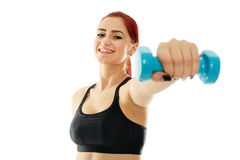 Sporty girl with dumbbells Stock Photos
