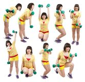 Sporty girl  exercising with weights Stock Images