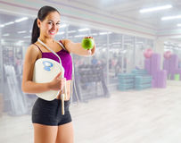 Sporty girl at fitness club Stock Image
