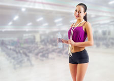Sporty girl at fitness club Stock Photos