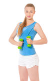 Sporty girl holding weights Royalty Free Stock Image