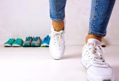 Choosing sports shoes Stock Photos
