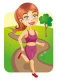 Sporty Girl Jogging In The Park Stock Image