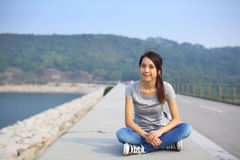 Sporty girl at outdoor. Sporty asian girl at outdoor Stock Images