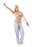 Sporty girl plus size doing exercise with jump rope. Stock Images