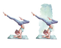 Sporty girl practices Forearm Stand. Watercolor illustration Stock Image
