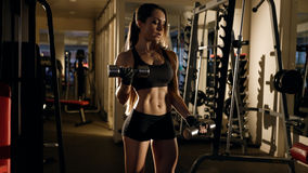 Sporty girl showing her well trained body and lifting dumbbells . Royalty Free Stock Image
