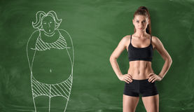 Sporty girl with slim body and picture of fat woman drawn at green chalkboard background