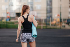 Sporty girl on stadion Royalty Free Stock Photography