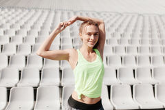 Sporty girl on stadion Royalty Free Stock Photos