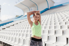 Sporty girl on stadion Stock Image