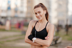 Sporty girl on stadion Stock Photo