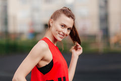 Sporty girl on stadion Stock Images