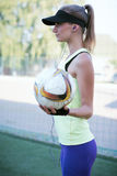 Sporty girl on the stadium Royalty Free Stock Image
