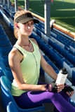 Sporty girl on the stadium Stock Photography