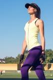 Sporty girl on the stadium Royalty Free Stock Photo