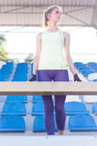 Sporty girl on the stadium Royalty Free Stock Images