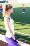 Sporty girl on the stadium Royalty Free Stock Photography