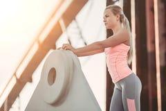 Sporty girl on street stock image