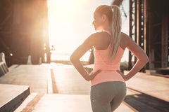 Sporty girl on street royalty free stock photos