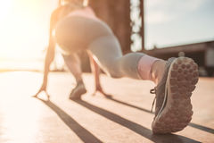 Sporty girl on street Royalty Free Stock Photography