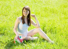 Sporty girl with volleyball Stock Image