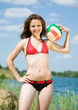 Sporty girl with volleyball Stock Photo