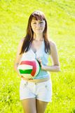 Sporty girl with volleyball Stock Photos