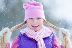 Sporty girl  in winter Stock Photos