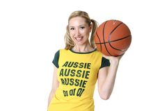 Sporty Girl With A Basketball Stock Images