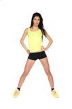 Sporty girl in yellow shirt Royalty Free Stock Photos