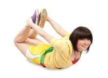 Sporty girl in yellow sportswear. Isolated Stock Photos