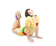 Sporty girl in yellow sportswear. Isolated Royalty Free Stock Photography