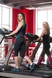 Sporty girls walk on treadmill Royalty Free Stock Image