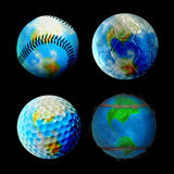 Sporty Globes. Football, Tennis, Golf and Baseball Earth Royalty Free Stock Photography