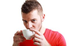 Sporty guy drinking coffee Royalty Free Stock Photo