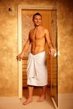 Sporty handsome man at sauna Royalty Free Stock Photo